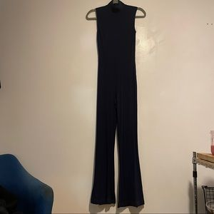 Reformation Navy Blue Ribbed Mock Neck Jumpsuit